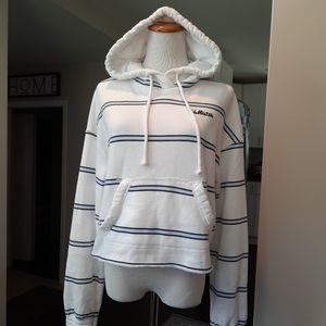 Hollister Soft White Striped Cropped Hoodie •XS•